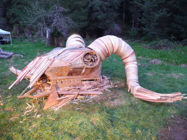Ram Head Fire Sculpture Side view
