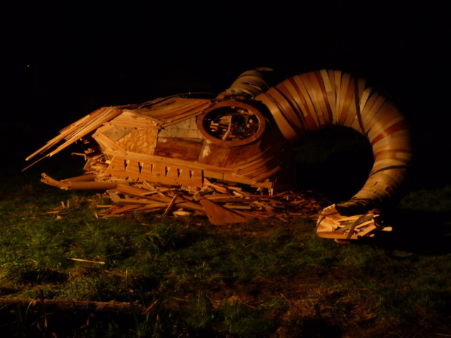 Ram Head Wood Fire Sculpture Night View