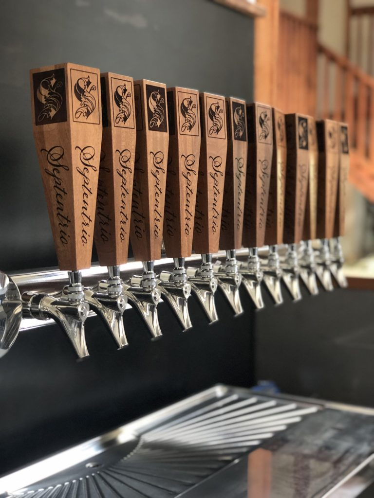 WoodLab Designs Custom Laser Etched Sapele Wine Bar Tap Handles for Septentrio Winery