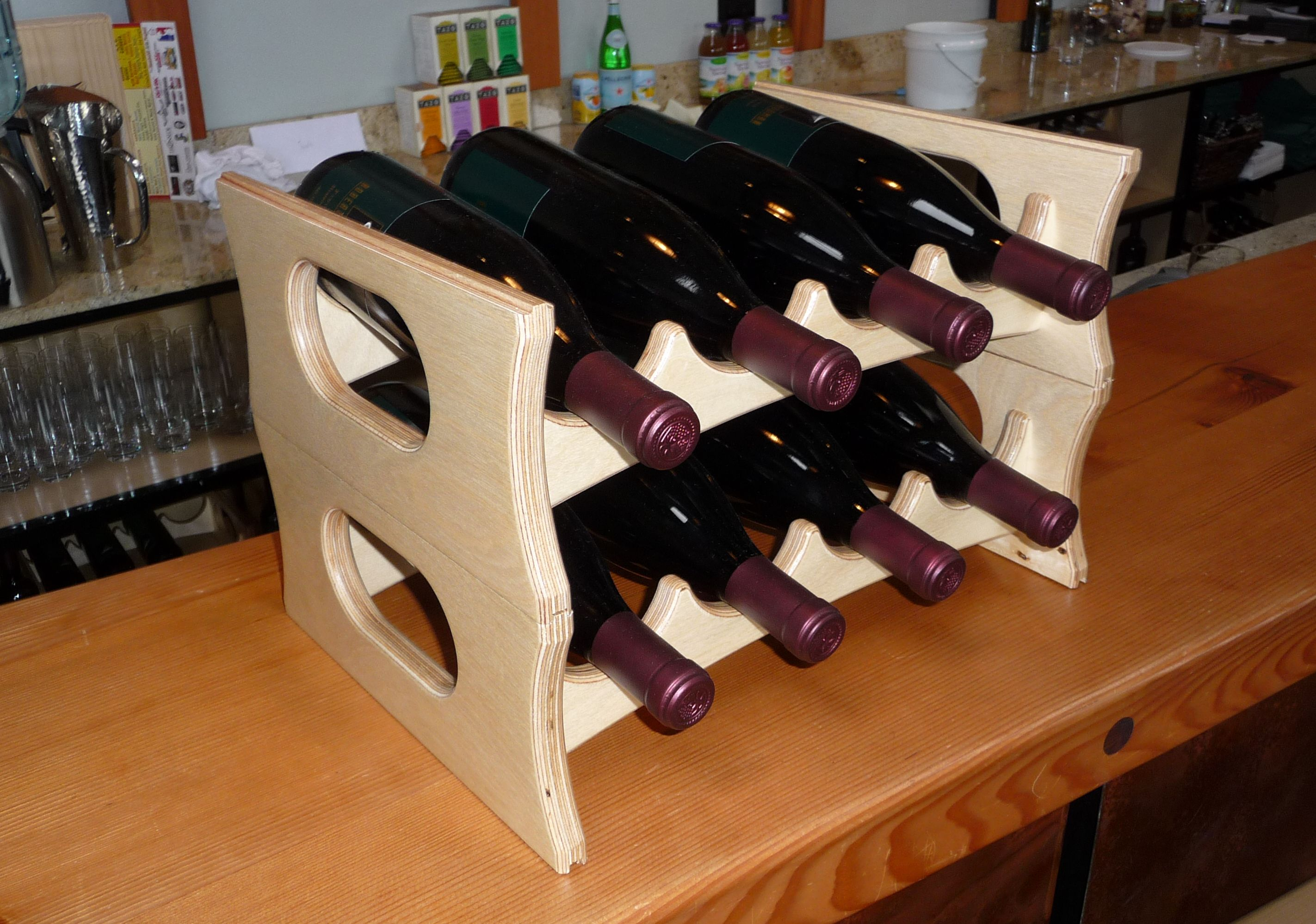 WoodLab Designs Stacking Baltic Birch Wine Display Rack