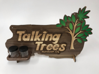 WoodLab Designs Combination Custom Standing Wood Cannabis Display or Wall Mounted Sign for Talking Trees Farms