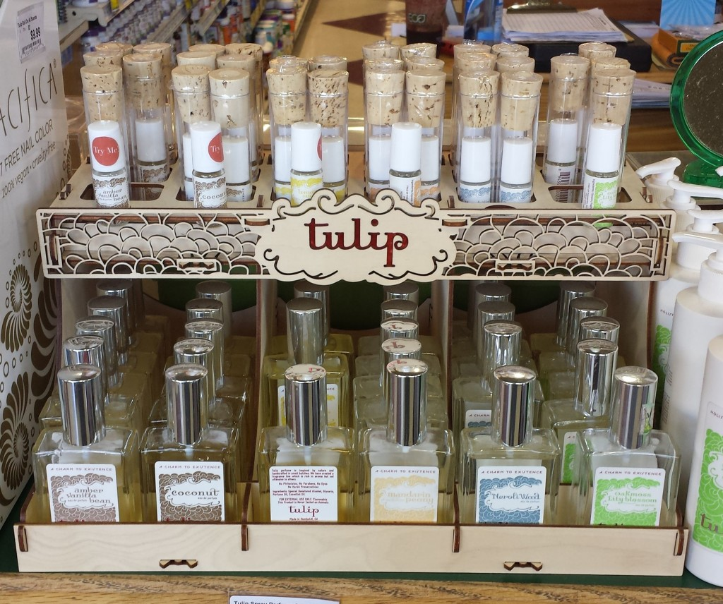 Product filled Tulip Perfume Display
