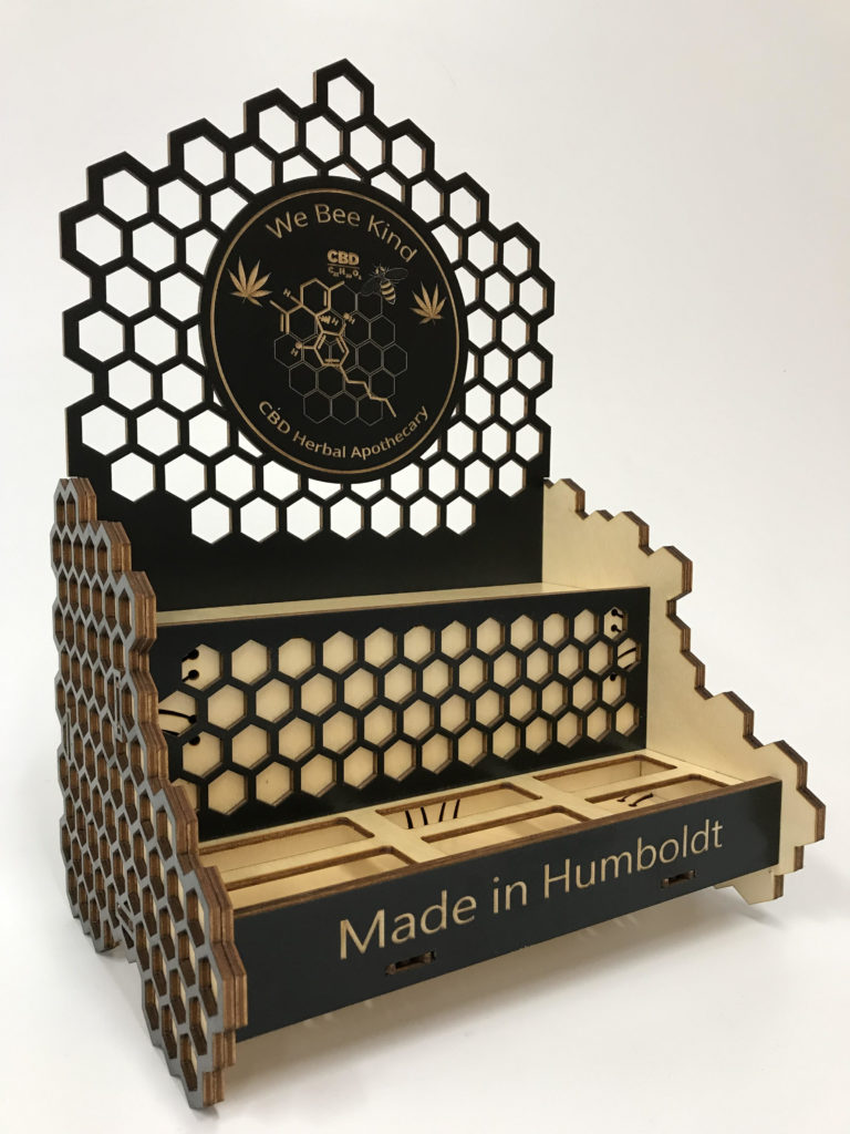 WoodLab Designs Honeycomb layered Black Stained We Bee Kind Humboldt CBD Multi-product Display