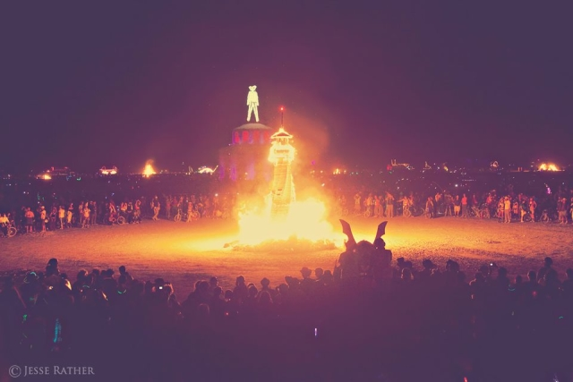 WoodLab Designs Burning Man Lighthouse Sculpture on fire