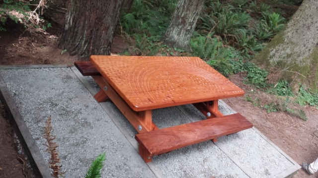 WoodLab Designs Redwood forest memorial bench installation