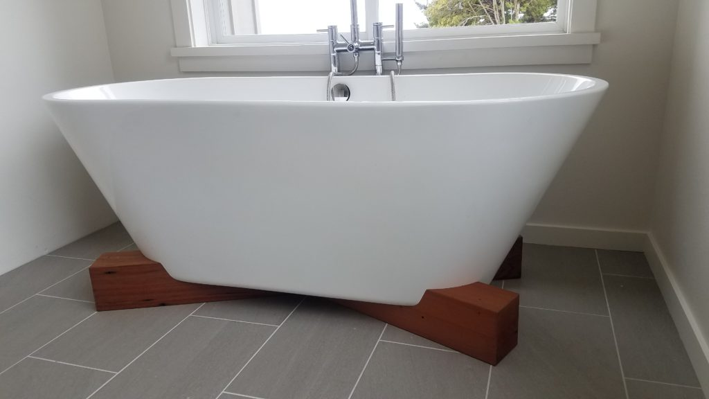WoodLab Designs Reclaimed Upcycled Salvaged Redwood Custom Bathtub Wood Base