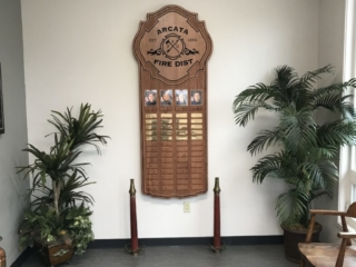 WoodLab Designs Recognition Perpetual Plaque CNC Routed Redwood Arcata Fire District