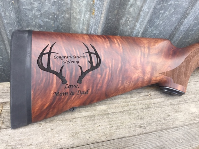 WoodLab Designs Custom Graduation Gift Rifle Stock Laser Etching
