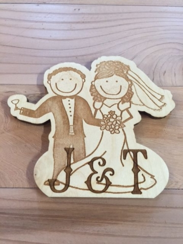 Laser Etched Baltic Birch Wedding Cake Topper