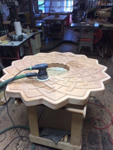 WoodLab Designs Mother Memorial Table Top in progress