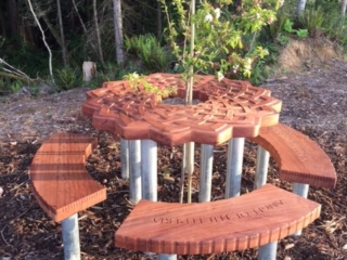 WoodLab Designs Redwood Mother Memorial Table with Bench Seating