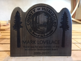 WoodLab Designs Laser Etched and CNC created County of Humboldt Service Award