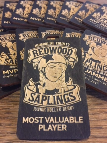 WoodLab Designs Humboldt Roller Derby Redwood Saplings MVP Custom Badges