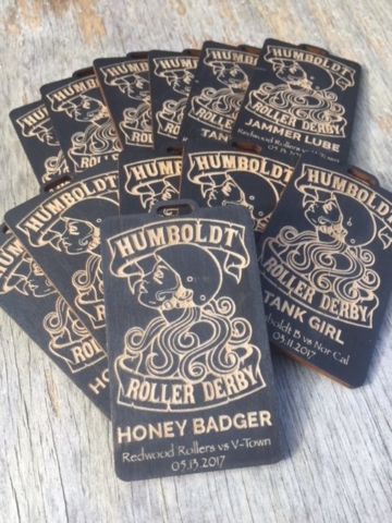 WoodLab Designs Humboldt Roller Derby MVP Player Badges