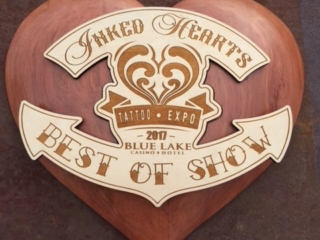 WoodLab Designs Inked Hearts Tattoo Expo Redwood Best of Show Award