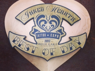 WoodLab Designs Inked Hearts Tattoo Expo Maple Trophy