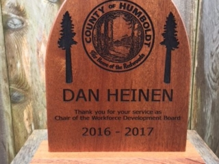 WoodLab Designs Sapele Wood County of Humboldt Recognition of Service Award