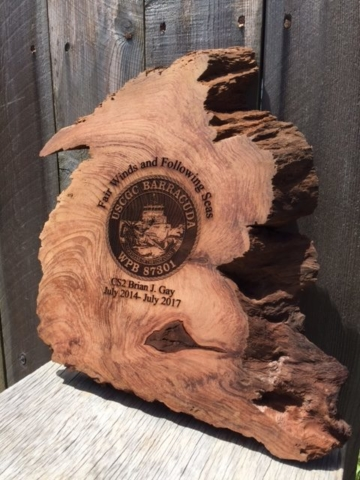 WoodLab Designs Redwood Burl Laser Etched Coast Guard Recognition Plaque