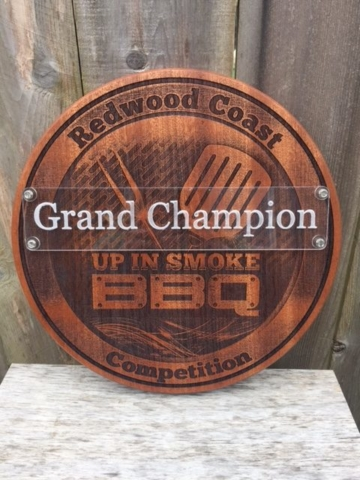 WoodLab Designs Sapele Laser Etched BBQ Competition Trophy Award