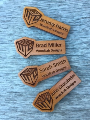 WoodLab Designs Magnetic Backed Redwood Wooden Name Tags