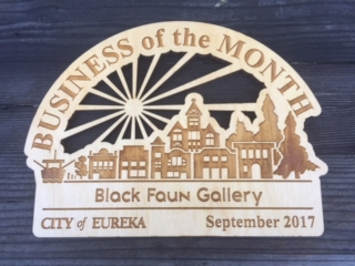 WoodLab Designs City of Eureka Small Business of the Month Award Plaque