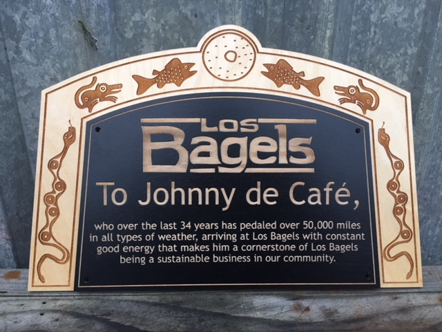 WoodLab Designs Baltic Birch Laser etched Los Bagels Custom Recognition Award