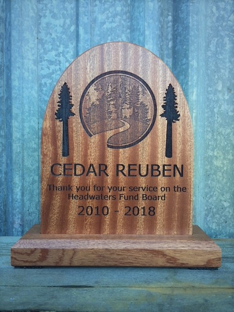 WoodLab Designs Humboldt County of Economic Development Sapele Laser Etched Desktop Award