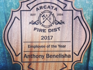 WoodLab Designs Sapele Arcata Fire District Employee of the Year Award