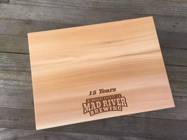 WoodLab Designs Mad River Brewing Microbrew Commemorative Recognition Cedar Grilling Plank and Custom Cheese Board