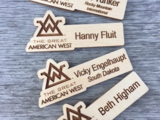 WoodLab Designs Great American West Baltic Birch Magnetic Name Tags