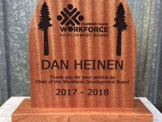WoodLab Designs Humboldt County Recognition of Service Award Department of Economic Development Sapele Laser Etched and CNC routed Award