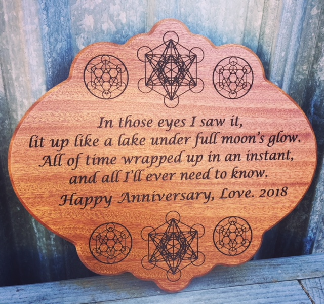WoodLab Designs Sacred Geometry Fifth Year Anniversary Gift Laser Etched Sapele Mahogany Wall mounted Plaque