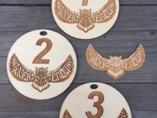 WoodLab Designs Mountain Bike Enduro Race Award Medallions, laser etched baltic birch