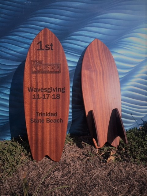 WoodLab Designs Sapele Laser Etched Wavesgiving Surfboard Competition Awards