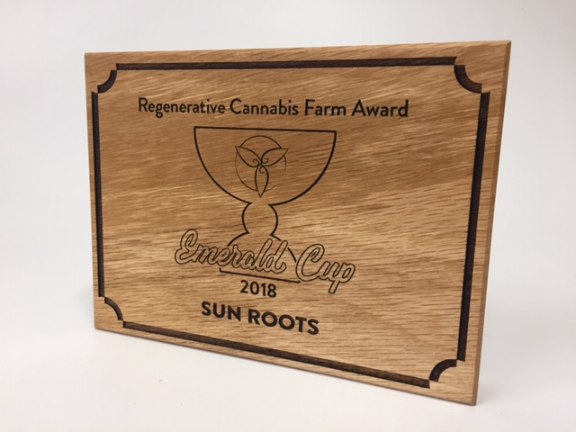WoodLab Designs Wall Mounted Laser Etched Emerald Cup 2018 Regenerative Cannabis Farm Award