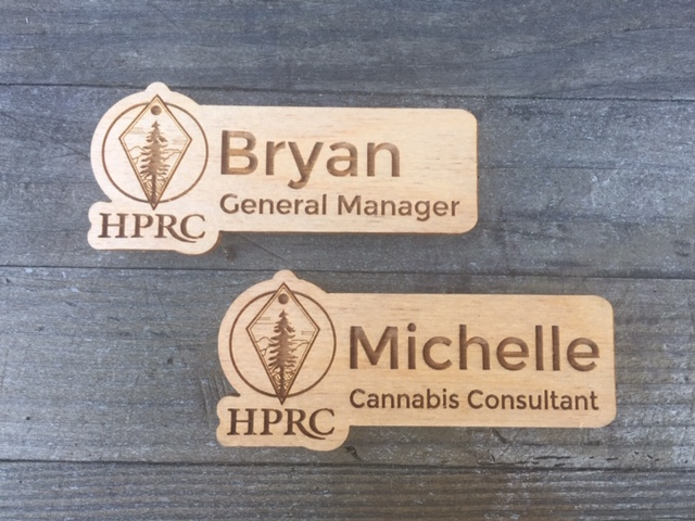 WoodLab Designs HPRC Humboldt Patient Resource Center Custom Baltic Birch Plywood Magnetic Name Tags