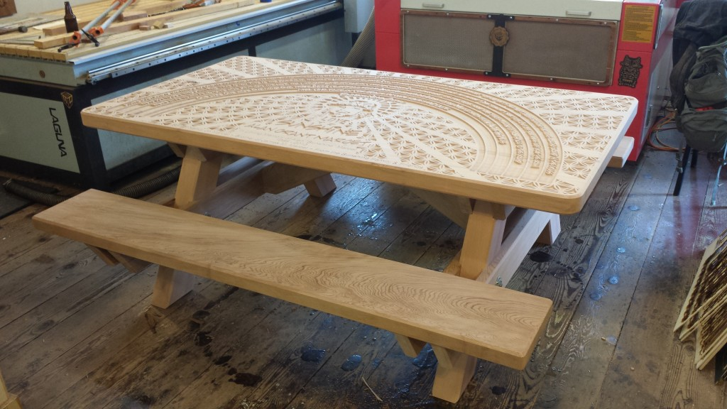WoodLab Designs Custom Laser Etched Picnic Bench