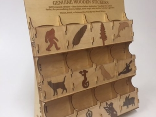 WoodLab Designs Complimentary Wood Sticker Display with 12 sticker image pockets