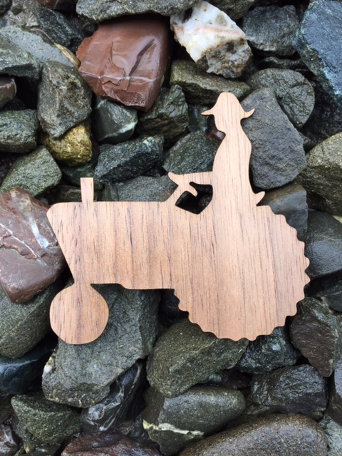 Farmer Silhouette Wooden Sticker
