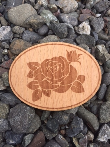 Rose Etched Wooden Sticker