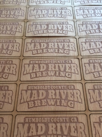 Microbrewery custom laser etched wooden labels by WoodLab Designs