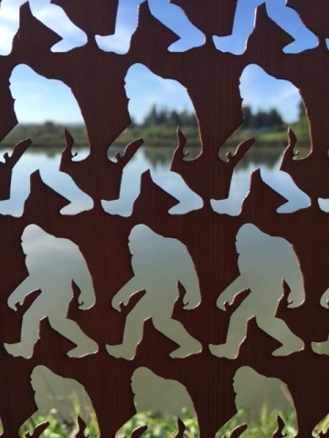 Humboldt Nature View through Wooden Screen of Bigfoot Stickers