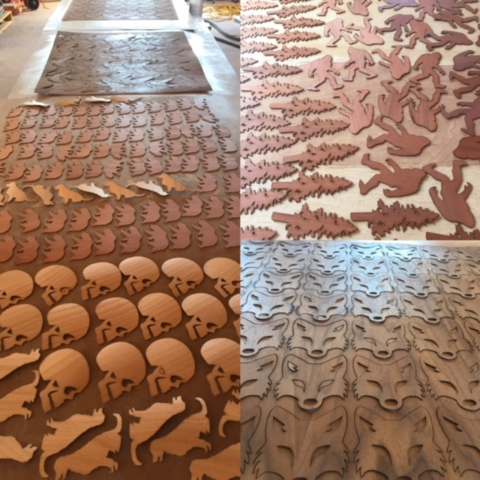 Laser Cut Silhouette Wooden Stickers in large quantities