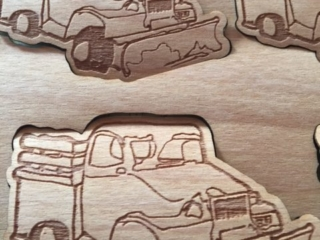 WoodLab Designs Snowplow Truck Love Laser Etched Wooden Sticker