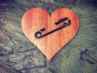 WoodLab Designs Safety Pin Safe Zone Heart Mahogany Wooden Sticker
