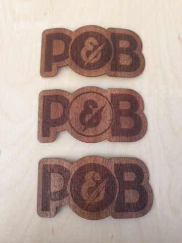 WoodLab Designs Papa & Barkley Prototype Sapele Wooden Stickers