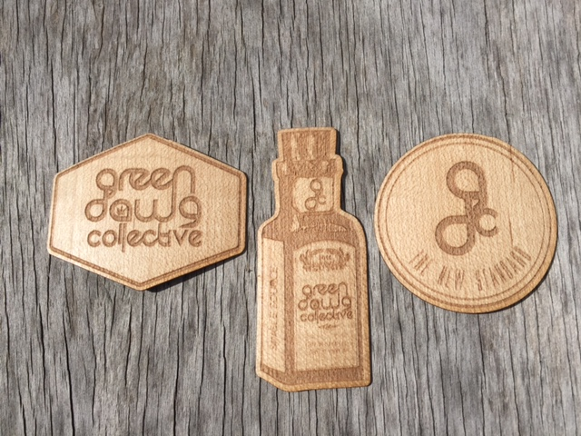 WoodLab Designs Laser Etched Maple Wooden Stickers for Green Dawg Collective