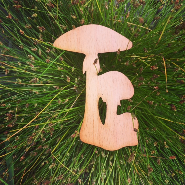 WoodLab Designs Beech Wood Veneer Mushroom laser cut sticker