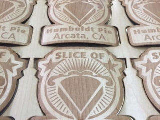WoodLab Designs Custom Slice of Humboldt Pie Laser Etched Maple Veneer Sticker