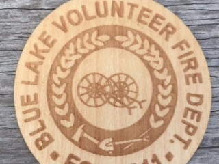 WoodLab Designs Blue Lake Volunteer Fire Department Maple Wood Sticker